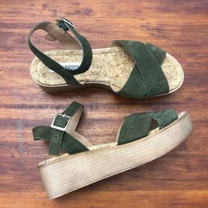 Steve Madden Leather Platform Strap Sandals 7M